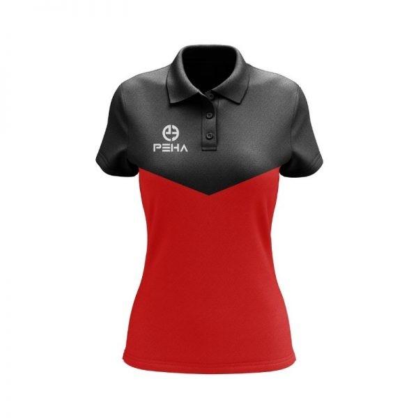 Koszulka polo damska PEHA Rico czarno-czerwona