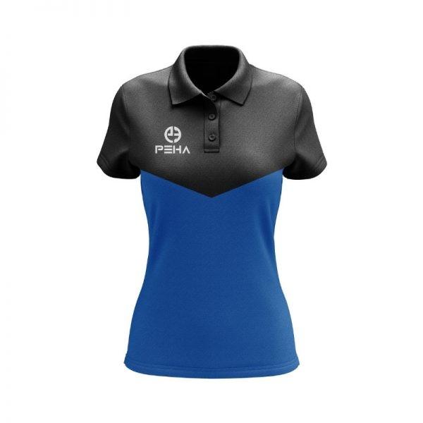 Koszulka polo damska PEHA Rico czarno-niebieska