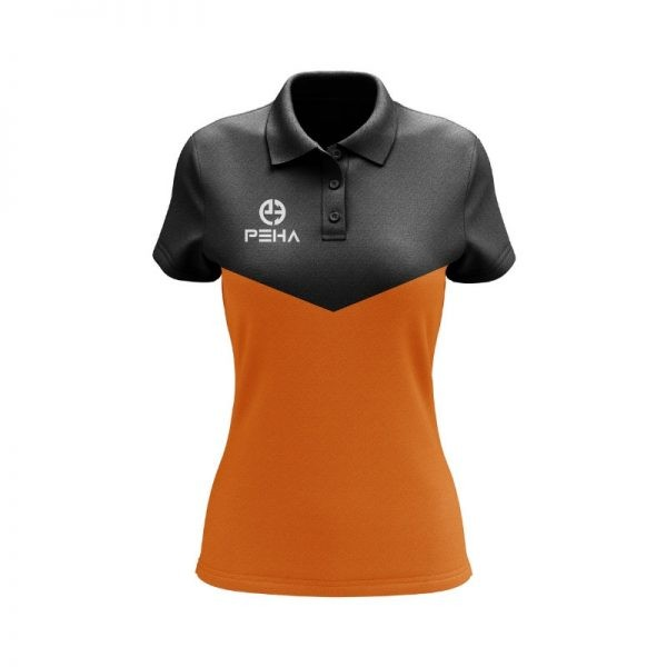 Koszulka polo damska PEHA Rico czarno-pomarańczowa
