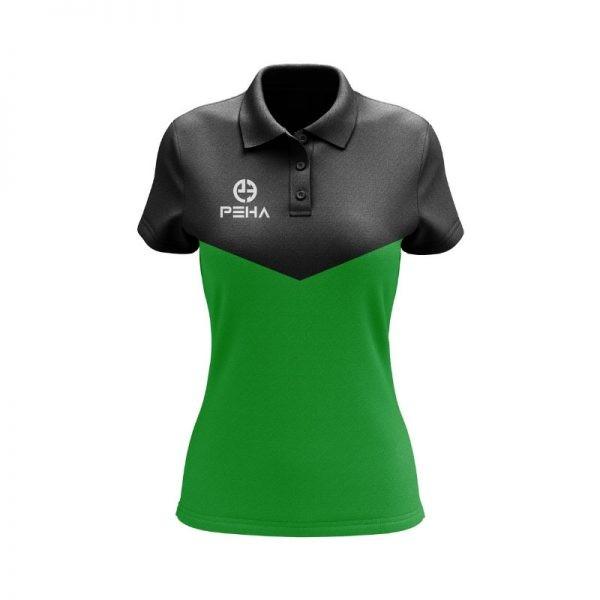 Koszulka polo damska PEHA Rico czarno-zielona