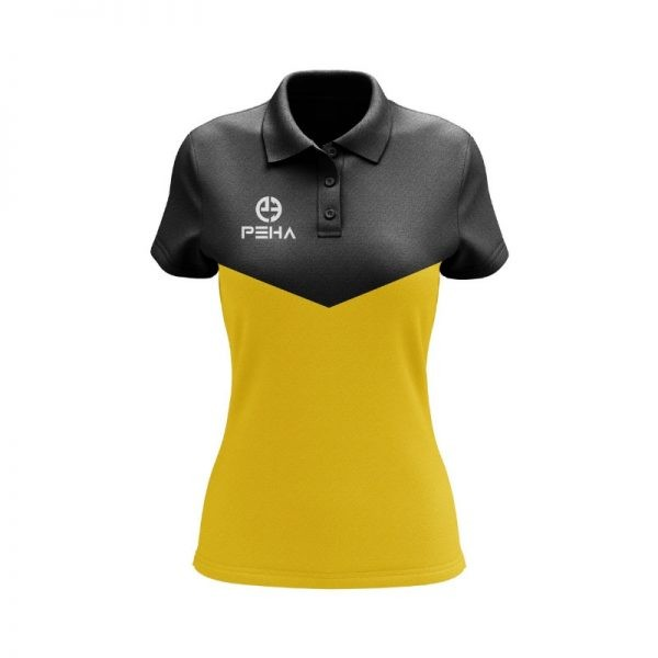 Koszulka polo damska PEHA Rico czarno-żółta