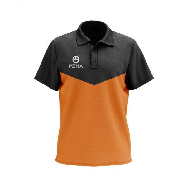 Koszulka polo PEHA Rico czarno-pomarańczowa