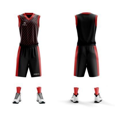Strój koszykarski PEHA Carmelo czarno-czerwony