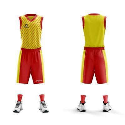 Strój koszykarski PEHA Carmelo żółto-czerwony