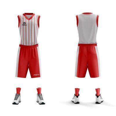 Strój koszykarski PEHA Dallas biało-czerwony