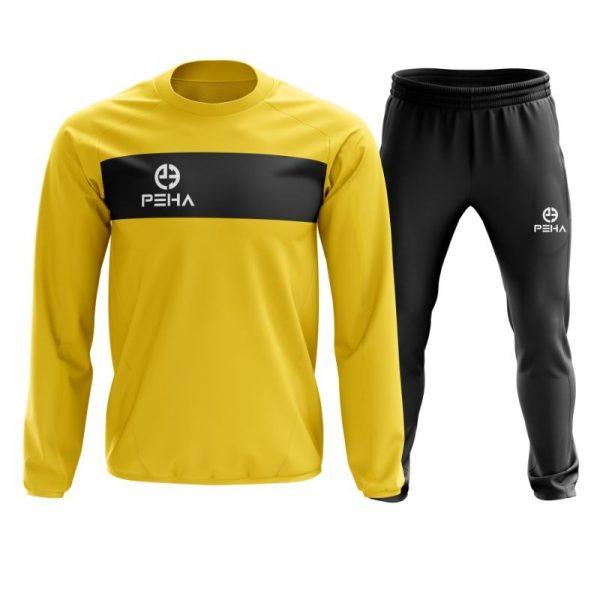 Dres piłkarski PEHA Ferraro żółty zakładany przez głowę