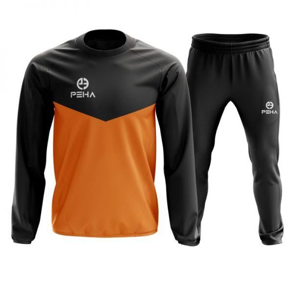 Dres piłkarski PEHA Rico czarno-pomarańczowy zakładany przez głowę