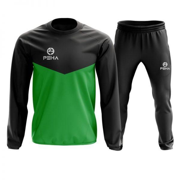 Dres piłkarski PEHA Rico czarno-zielony zakładany przez głowę