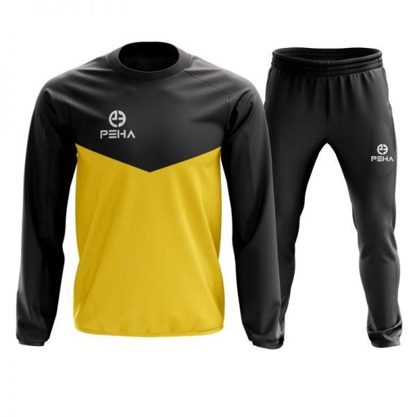 Dres piłkarski PEHA Rico czarno-żółty zakładany przez głowę