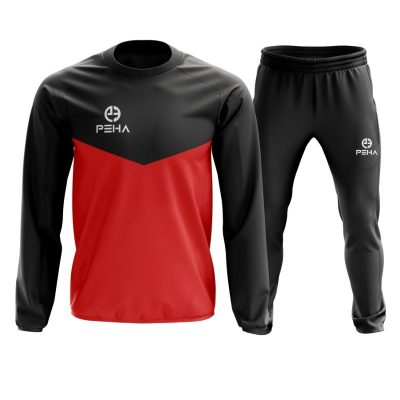 Dres koszykarski PEHA Rico czarno-czerwony zakładany przez głowę