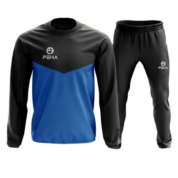Dres koszykarski PEHA Rico czarno-niebieski zakładany przez głowę