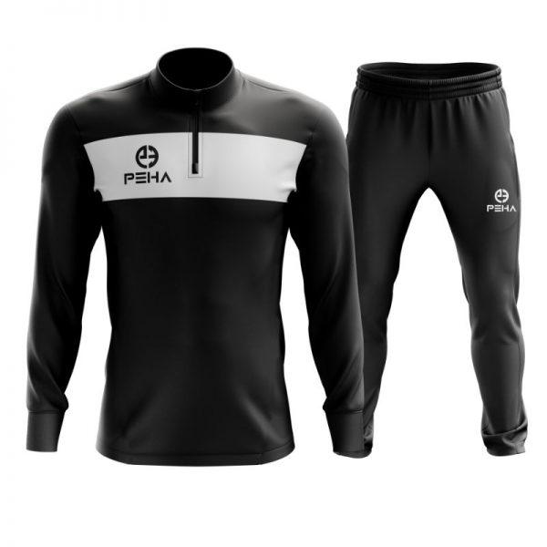 Dres piłkarski PEHA Ferraro czarny z krótkim zamkiem