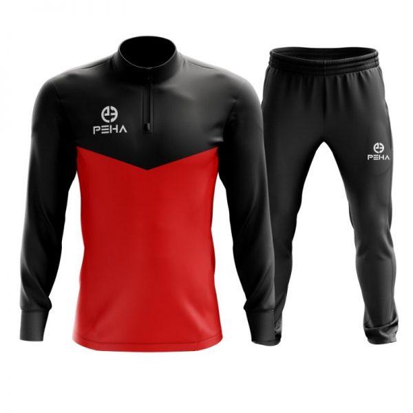 Dres piłkarski PEHA Rico czarno-czerwony z krótkim zamkiem