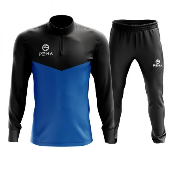 Dres piłkarski PEHA Rico czarno-niebieski z krótkim zamkiem