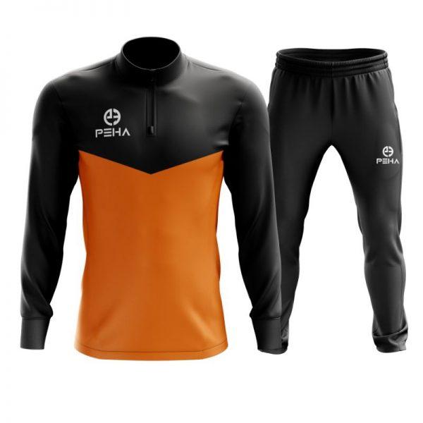 Dres piłkarski PEHA Rico czarno-pomarańczowy z krótkim zamkiem