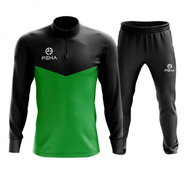Dres piłkarski PEHA Rico czarno-zielony z krótkim zamkiem