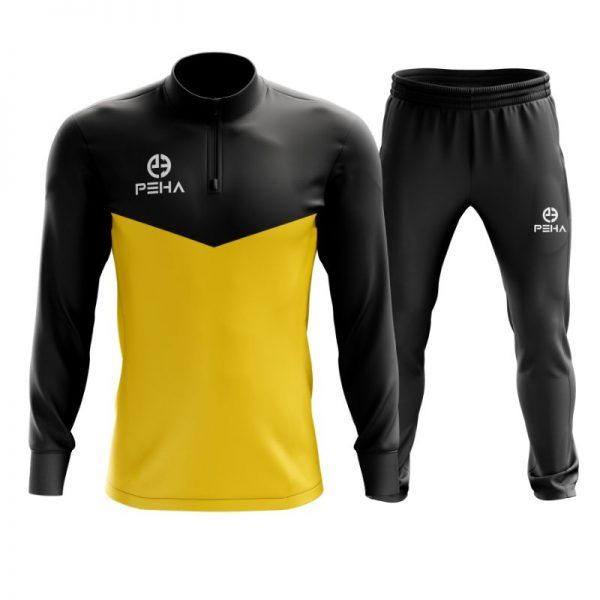 Dres piłkarski PEHA Rico czarno-żółty z krótkim zamkiem