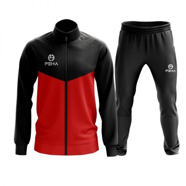 Dres piłkarski PEHA Rico czarno-czerwony rozpinany