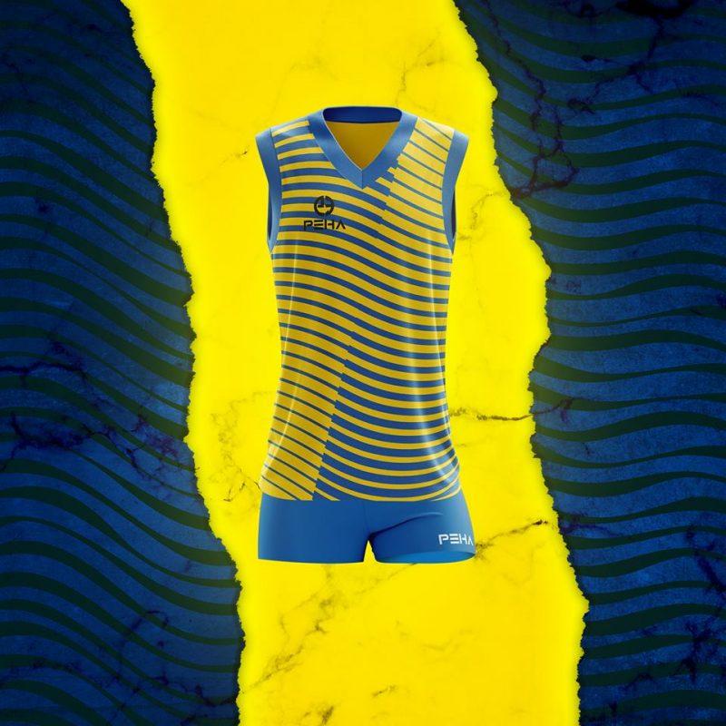 Strój siatkarski damski PEHA żółto-niebieski, koszulka siatkarska damska razem ze spodenkami siatkarskimi