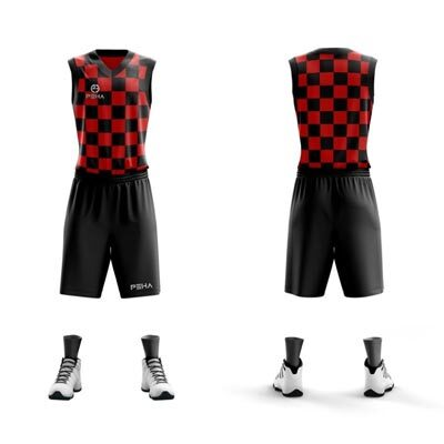 Stroje koszykarskie PEHA Croatia czerwono-czarne