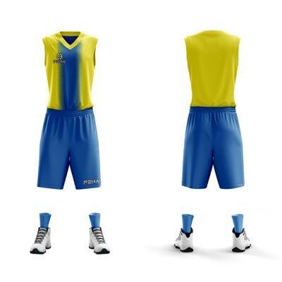 Strój koszykarski PEHA Delta żółto-niebieski
